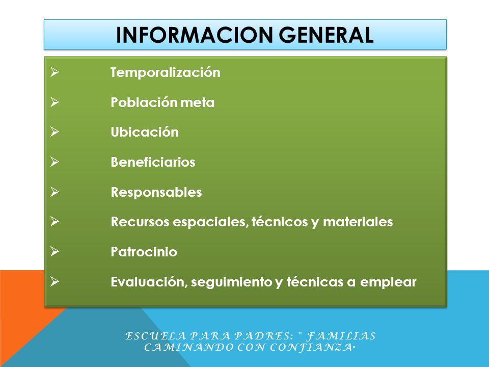INFORMACION GENERAL Temporalización Población meta Ubicación Beneficiarios Responsables Recursos espaciales, técnicos y materiales Patrocinio Evaluaci