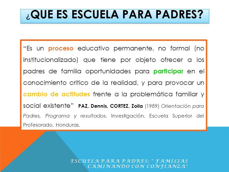 INICIO DE TALLERES ESCUELA PARA PADRES: FAMILIAS CAMINANDO CON CONFIANZA