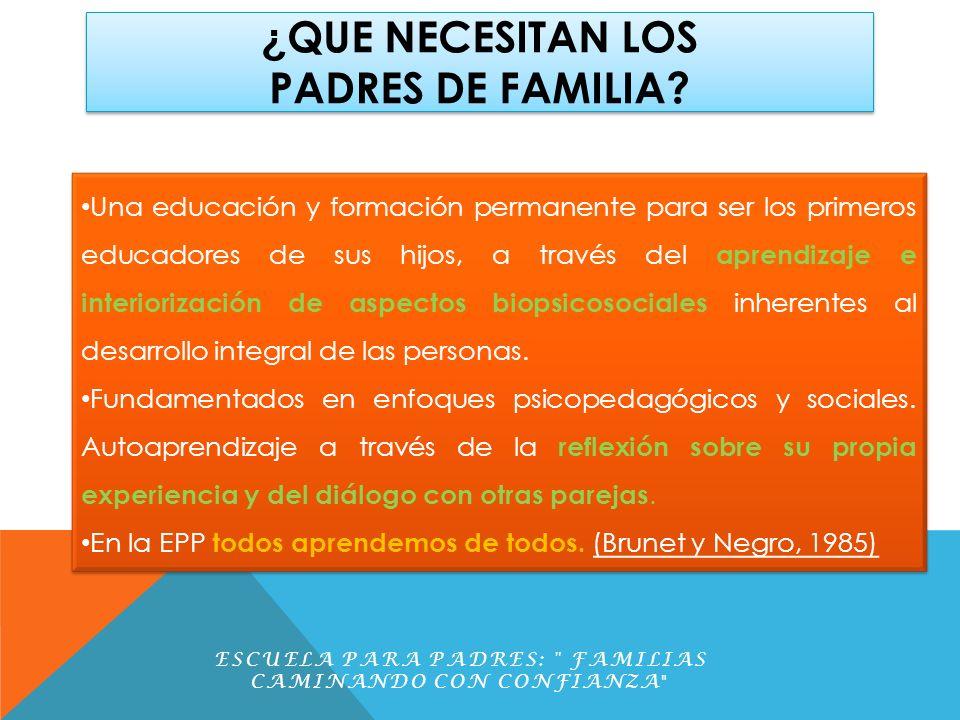 ¿ QUE NECESITAN LOS PADRES DE FAMILIA? ESCUELA PARA PADRES: