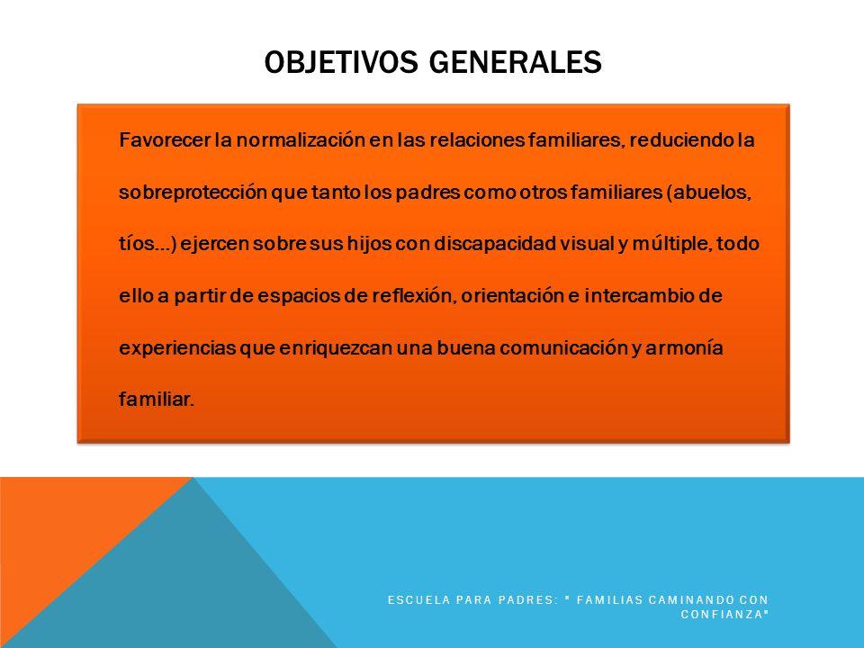 OBJETIVOS GENERALES Favorecer la normalización en las relaciones familiares, reduciendo la sobreprotección que tanto los padres como otros familiares