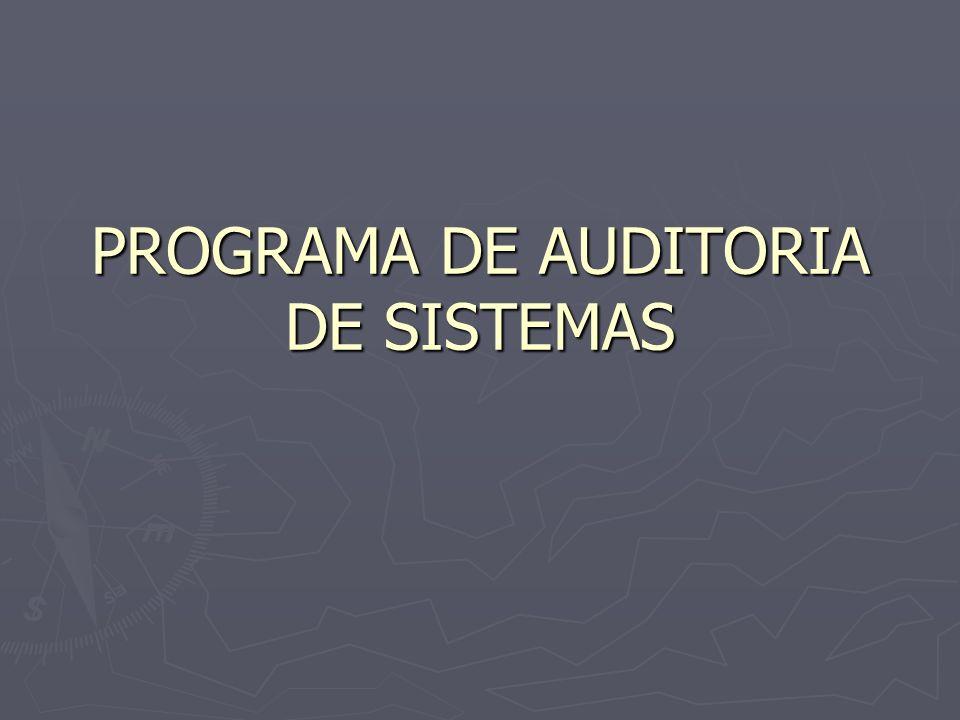 PROGRAMA DE AUDITORIA DE SISTEMAS