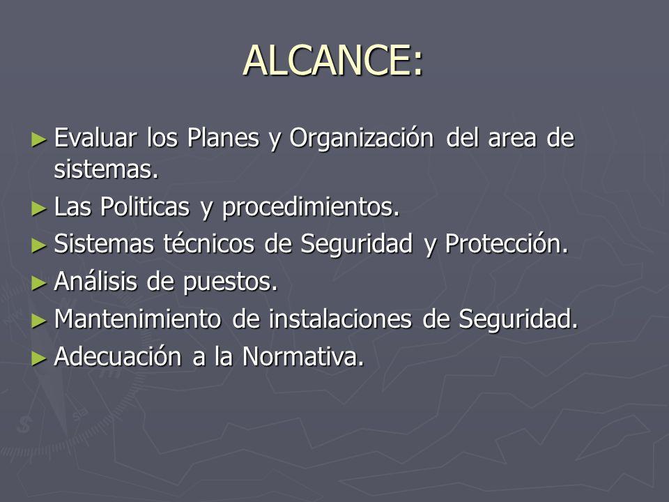 ALCANCE: Evaluar los Planes y Organización del area de sistemas. Evaluar los Planes y Organización del area de sistemas. Las Politicas y procedimiento