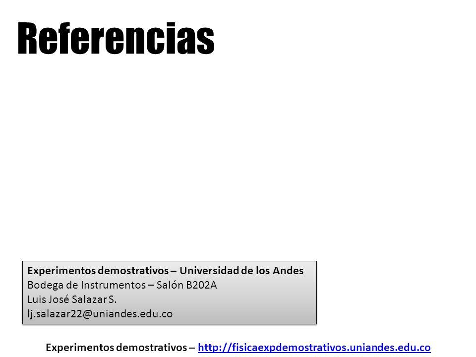 Referencias Experimentos demostrativos – http://fisicaexpdemostrativos.uniandes.edu.cohttp://fisicaexpdemostrativos.uniandes.edu.co Experimentos demos