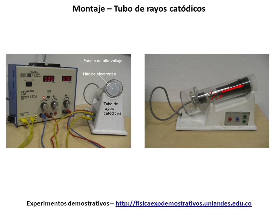 Montaje – Tubo de rayos catódicos Experimentos demostrativos – http://fisicaexpdemostrativos.uniandes.edu.cohttp://fisicaexpdemostrativos.uniandes.edu