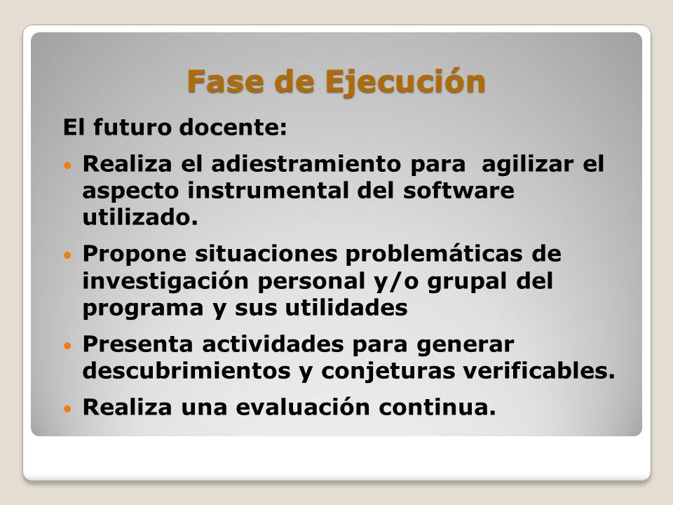 Fase de Ejecución El futuro docente: Realiza el adiestramiento para agilizar el aspecto instrumental del software utilizado. Propone situaciones probl
