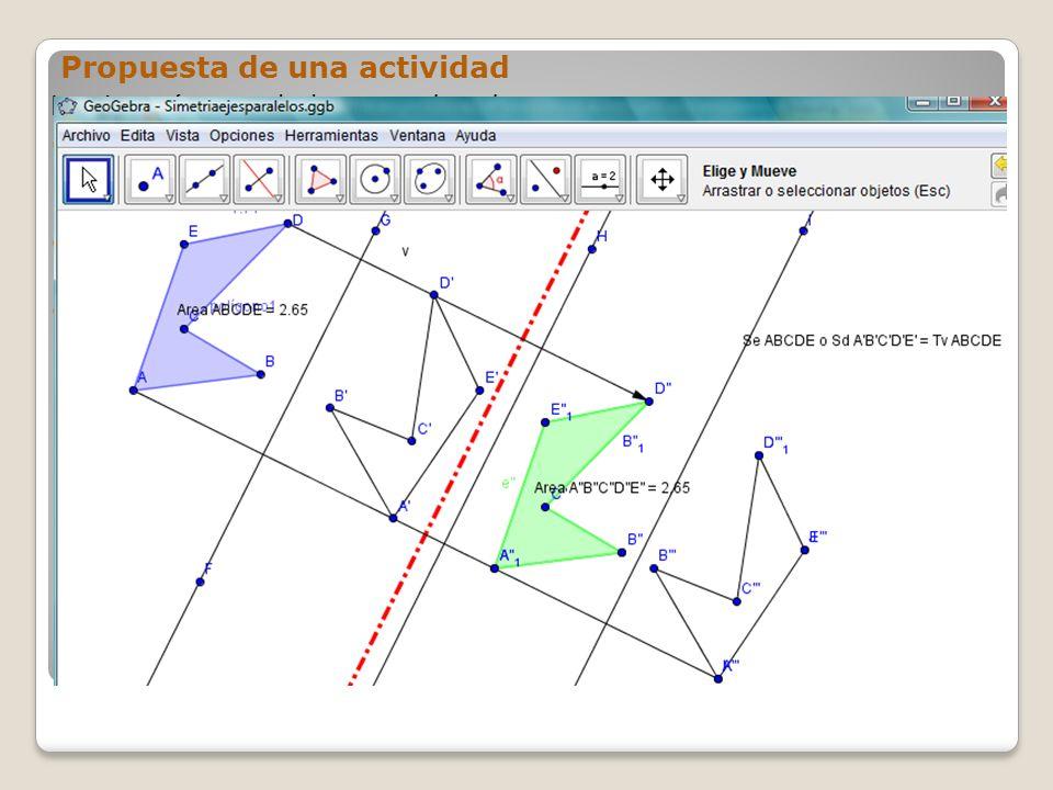 Propuesta de una actividad La simetrías en el plano pueden dar sorpresas Aplica a una figura dos simetrías sucesivas de ejes paralelos.