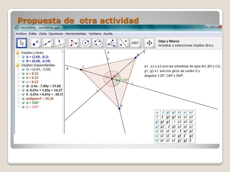 Propuesta de otra actividad Dibujen un polígono regular y sus isometrías.