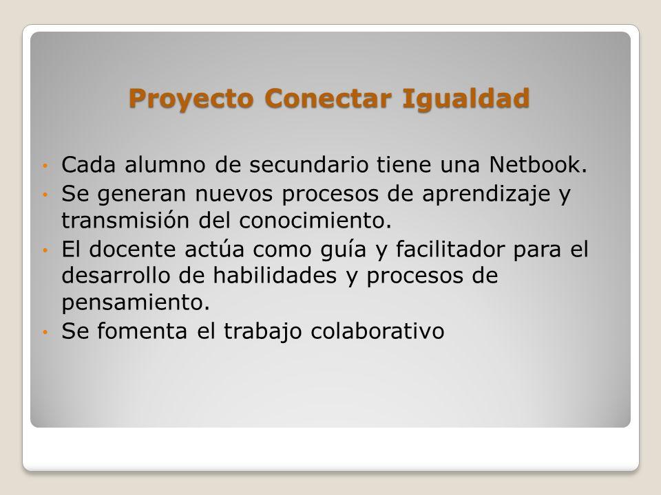 Proyecto Conectar Igualdad Cada alumno de secundario tiene una Netbook.