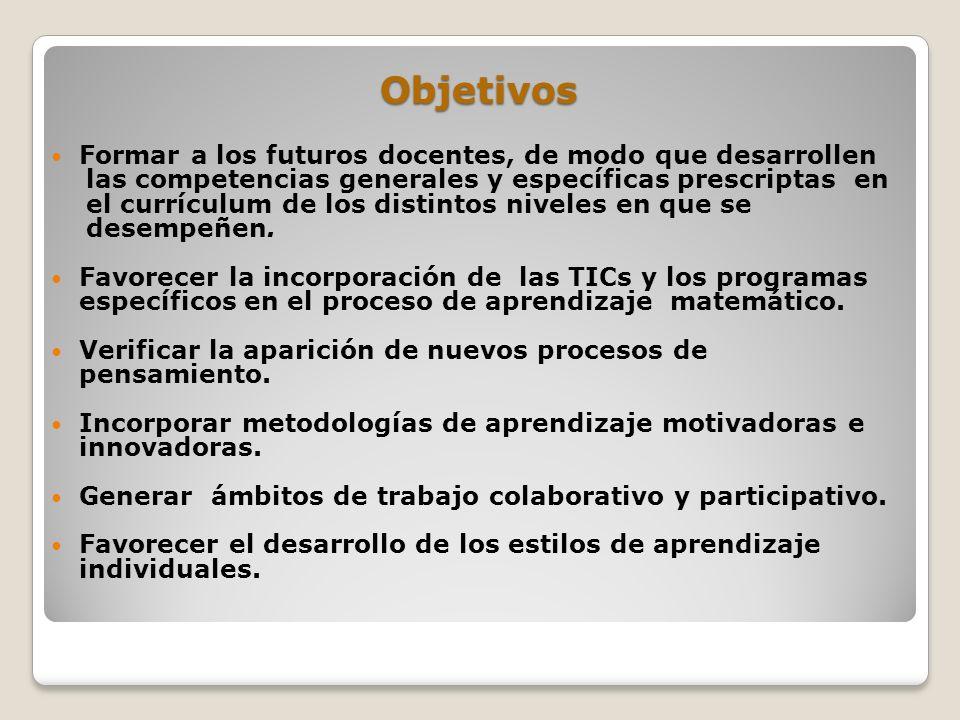 Objetivos Formar a los futuros docentes, de modo que desarrollen las competencias generales y específicas prescriptas en el currículum de los distinto