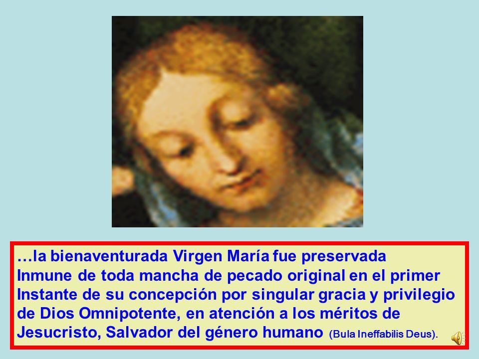 A lo largo de los siglos, la Igle- sia ha tomado conciencia de que María llena de gracia ha- bía sido redimida desde su concepción. Es lo que confie-