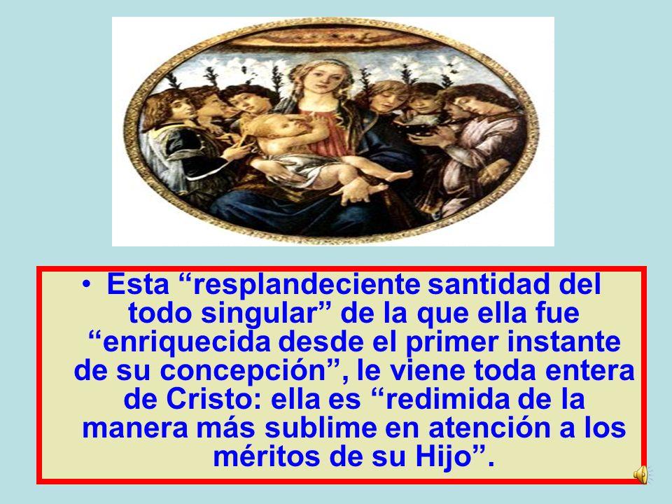 …la bienaventurada Virgen María fue preservada Inmune de toda mancha de pecado original en el primer Instante de su concepción por singular gracia y p