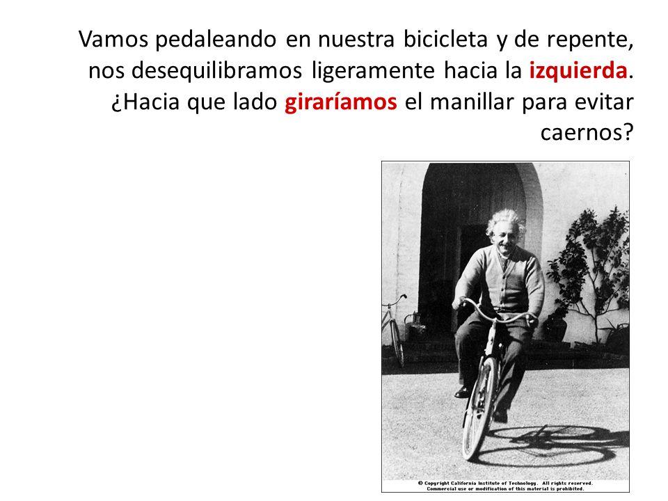 Vamos pedaleando en nuestra bicicleta y de repente, nos desequilibramos ligeramente hacia la izquierda.