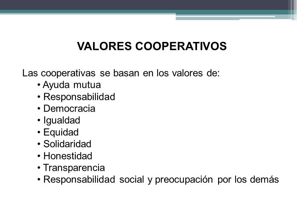 VALORES COOPERATIVOS Las cooperativas se basan en los valores de: Ayuda mutua Responsabilidad Democracia Igualdad Equidad Solidaridad Honestidad Transparencia Responsabilidad social y preocupación por los demás