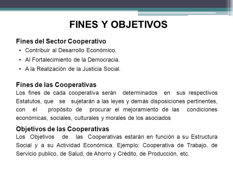 FINES Y OBJETIVOS Fines del Sector Cooperativo Contribuir al Desarrollo Económico. Al Fortalecimiento de la Democracia. A la Realización de la Justici