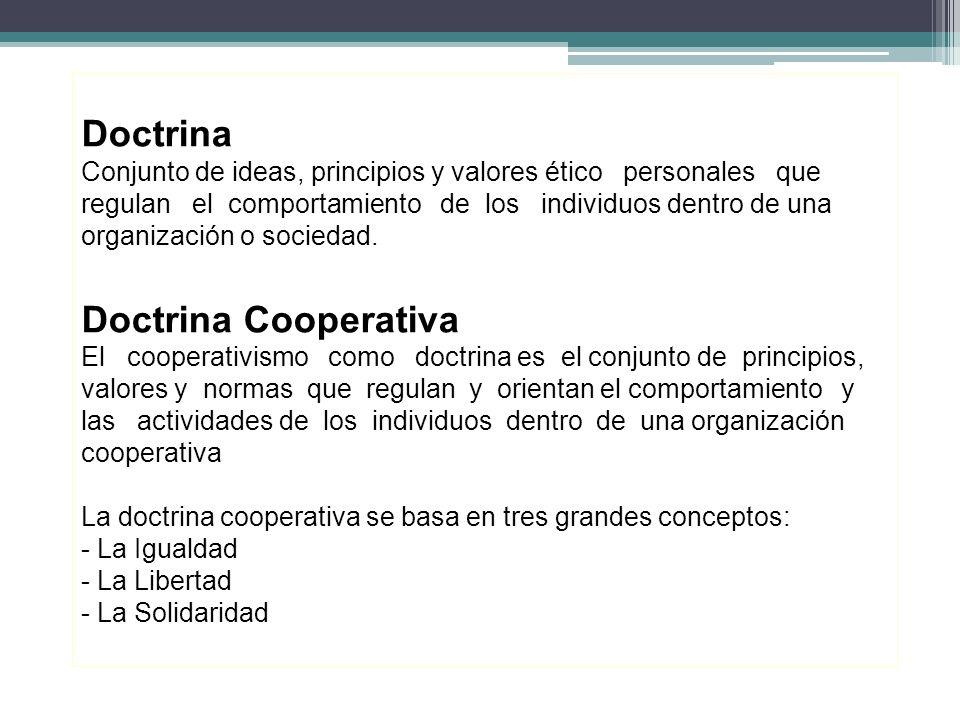 Doctrina Conjunto de ideas, principios y valores ético personales que regulan el comportamiento de los individuos dentro de una organización o sociedad.