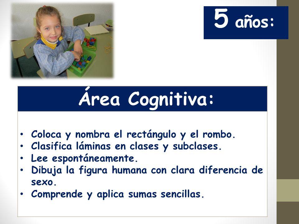 5 años: Área Cognitiva: Coloca y nombra el rectángulo y el rombo.