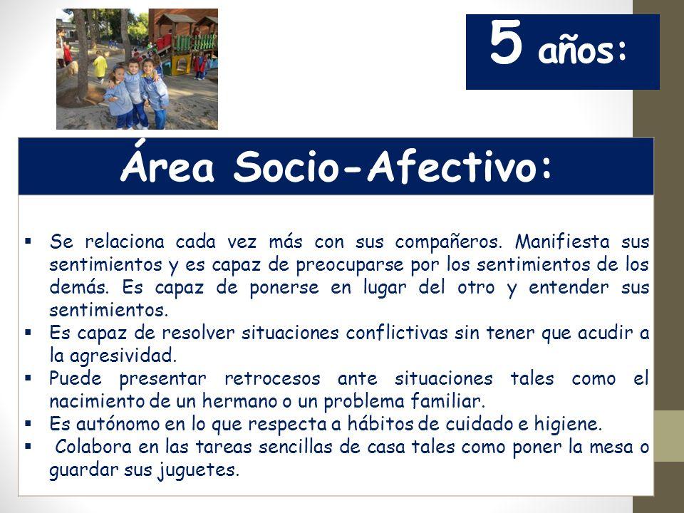 5 años: Área Socio-Afectivo: Se relaciona cada vez más con sus compañeros.