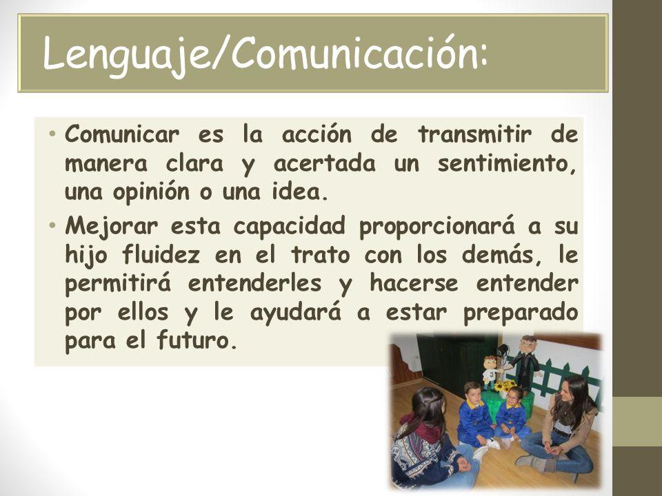 Lenguaje/Comunicación: Comunicar es la acción de transmitir de manera clara y acertada un sentimiento, una opinión o una idea.