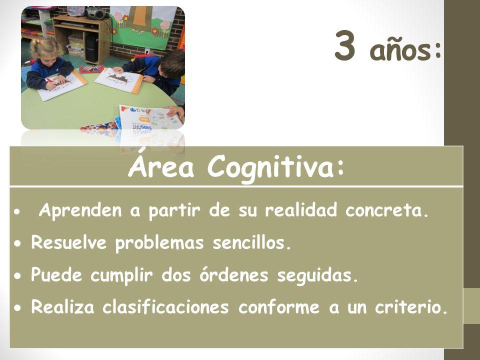 3 años: Área Cognitiva: Aprenden a partir de su realidad concreta.