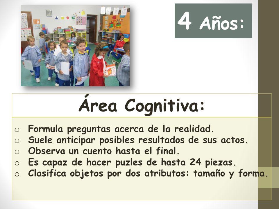 Área Cognitiva: o Formula preguntas acerca de la realidad.
