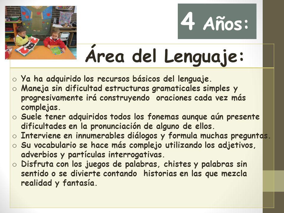 Área del Lenguaje: o Ya ha adquirido los recursos básicos del lenguaje.