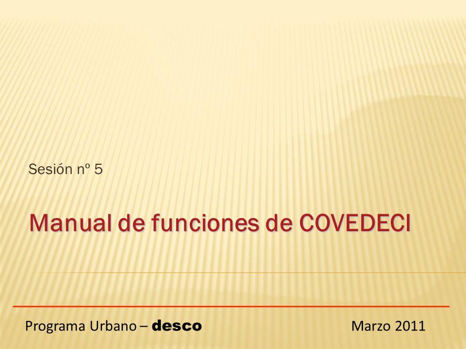 Sesión nº 5 Manual de funciones de COVEDECI Programa Urbano – desco Marzo 2011