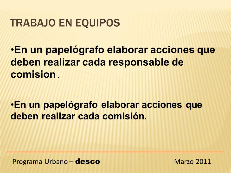 Programa Urbano – desco Marzo 2011 En un papelógrafo elaborar acciones que deben realizar cada responsable de comision.