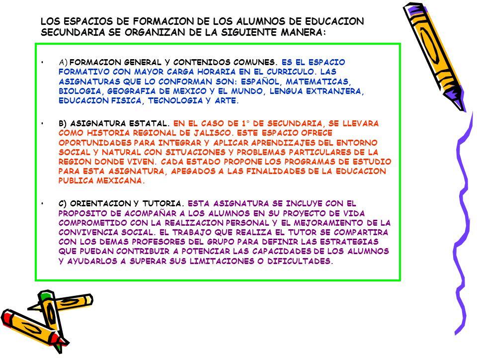 MAPA CURRICULAR TOMANDO EN CUENTA LAS CARACTERISTICAS ANTERIORES, EL MAPA CURRICULAR PARA 1° DE SECUNDARIA DURANTE EL CICLO ESCOLAR 2010-2011, QUEDA DE LA SIGUIENTE MANERA: MATERIAHORAS ESPAÑOL5 MATEMATICAS5 CIENCIAS (ENFASIS EN BIOLOGIA)6 GEOGRAFIA DE MEXICO Y EL MUNDO5 LENGUA EXTRANJERA (FRANCES)3 EDUCACION FISICA2 TECNOLOGIA3 ARTE2 ASIGNATURA ESTATAL3 ORIENTACION Y TUTORIA1 TALLERES Y CLASES ESPECIALES9 –TOTAL44