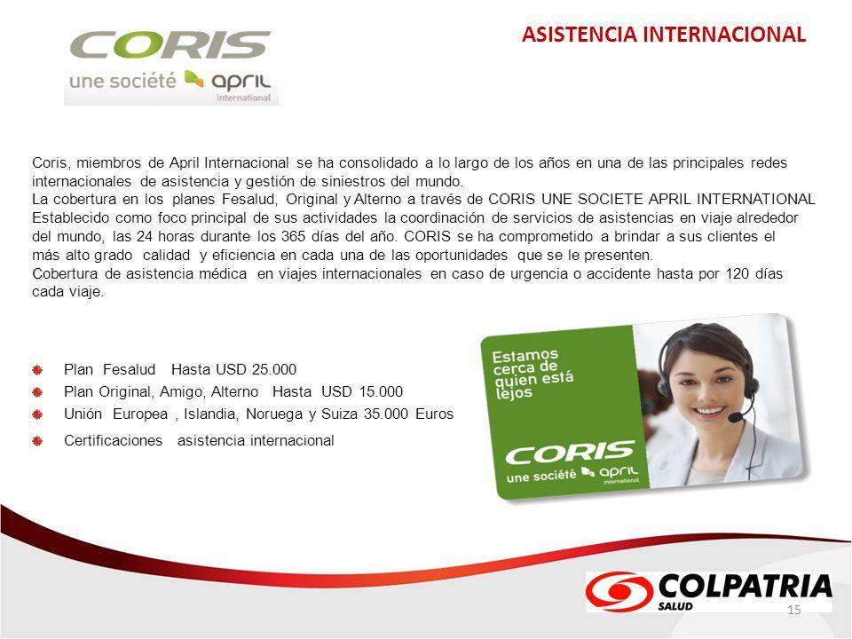 ASISTENCIA INTERNACIONAL 15 Coris, miembros de April Internacional se ha consolidado a lo largo de los años en una de las principales redes internacio