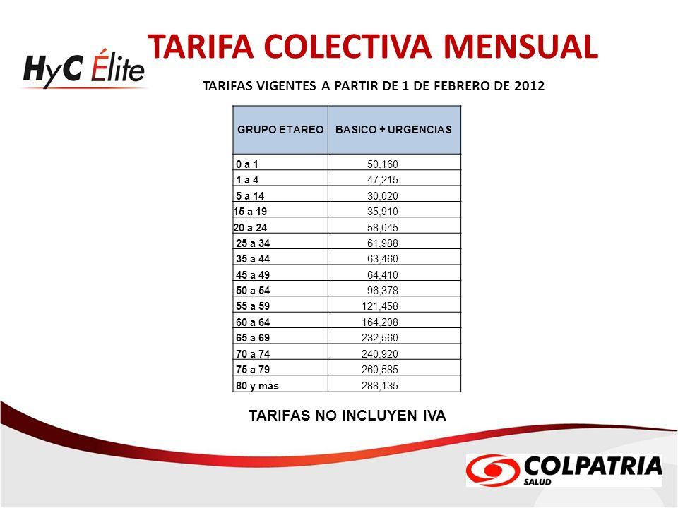 TARIFA COLECTIVA MENSUAL TARIFAS VIGENTES A PARTIR DE 1 DE FEBRERO DE 2012 TARIFAS NO INCLUYEN IVA GRUPO ETAREOBASICO + URGENCIAS 0 a 1 50,160 1 a 4 4