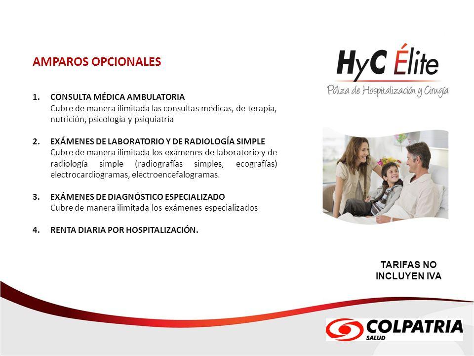 AMPAROS OPCIONALES 1. CONSULTA MÉDICA AMBULATORIA Cubre de manera ilimitada las consultas médicas, de terapia, nutrición, psicología y psiquiatría 2.
