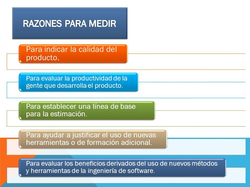 Para indicar la calidad del producto. Para evaluar la productividad de la gente que desarrolla el producto. Para establecer una línea de base para la