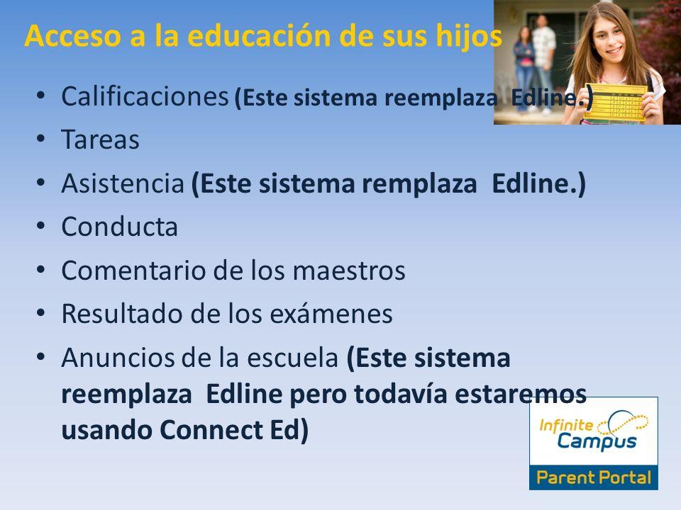 Acceso a la educación de sus hijos Calificaciones (Este sistema reemplaza Edline.) Tareas Asistencia (Este sistema remplaza Edline.) Conducta Comentar