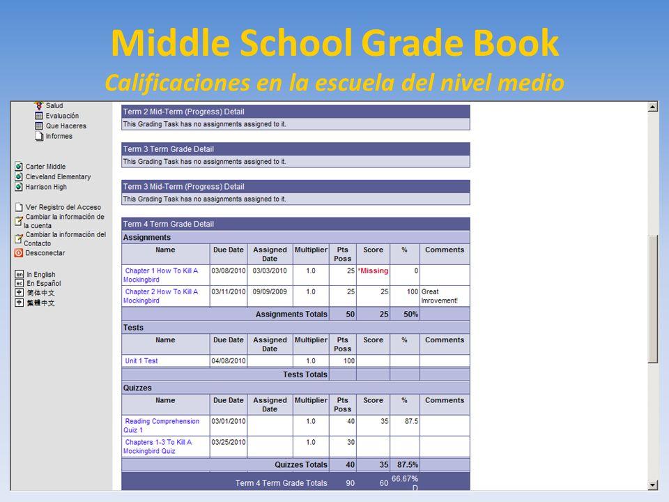 Middle School Grade Book Calificaciones en la escuela del nivel medio