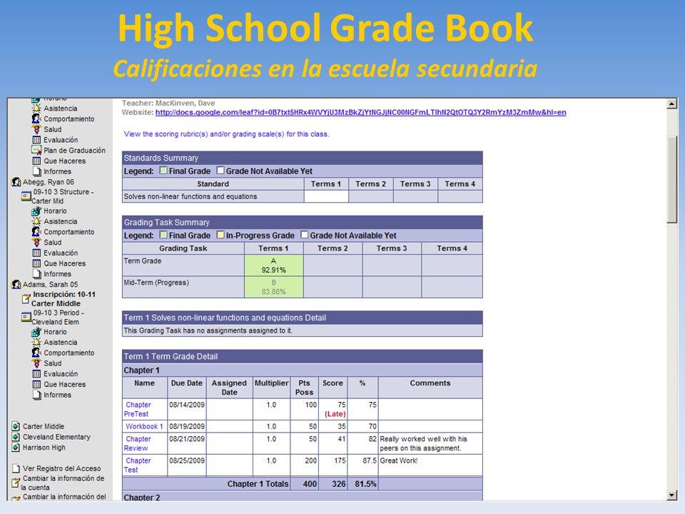 High School Grade Book Calificaciones en la escuela secundaria
