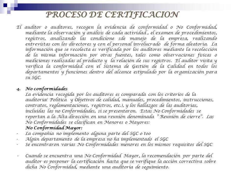PROCESO DE CERTIFICACION El auditor o auditores, recogen la evidencia de conformidad o No Conformidad, mediante la observación y análisis de cada acti
