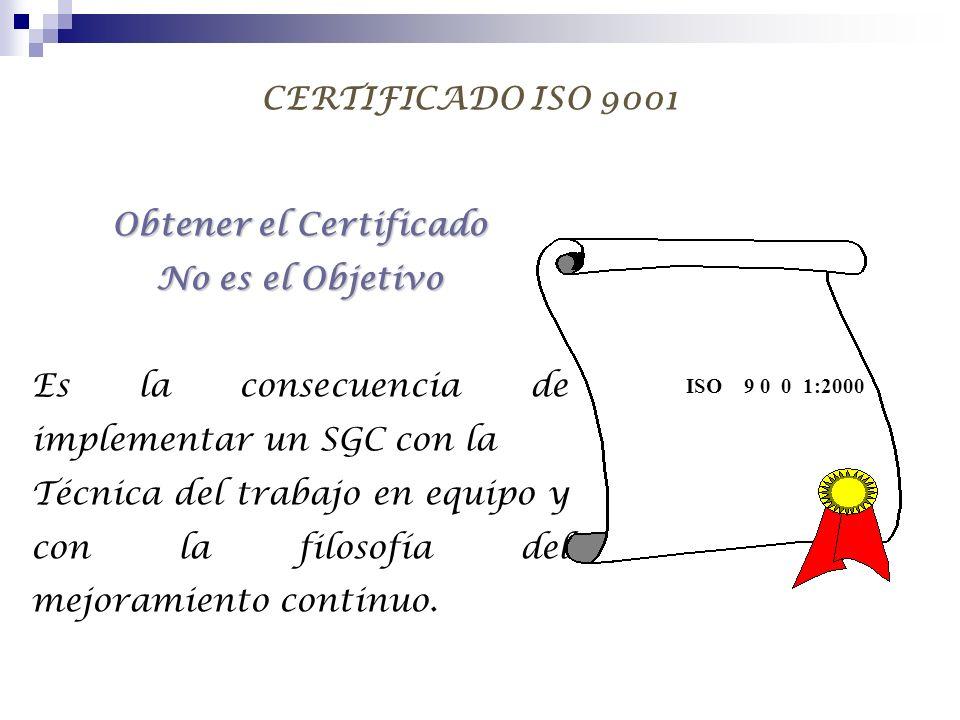 CERTIFICADO ISO 9001 Obtener el Certificado No es el Objetivo Es la consecuencia de implementar un SGC con la Técnica del trabajo en equipo y con la f