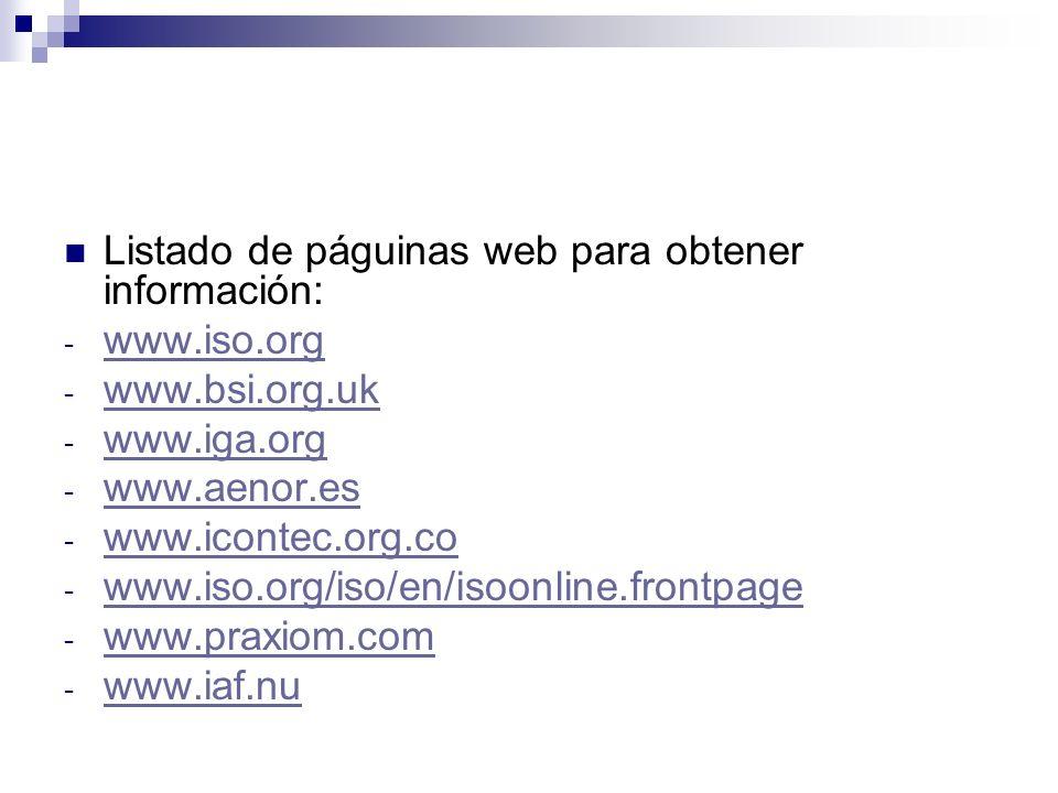 Listado de páguinas web para obtener información: - www.iso.org www.iso.org - www.bsi.org.uk www.bsi.org.uk - www.iga.org www.iga.org - www.aenor.es w