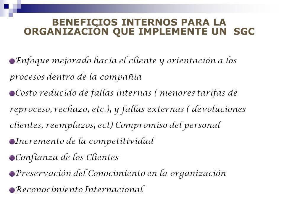 BENEFICIOS INTERNOS PARA LA ORGANIZACIÓN QUE IMPLEMENTE UN SGC Enfoque mejorado hacia el cliente y orientación a los procesos dentro de la compañía Co