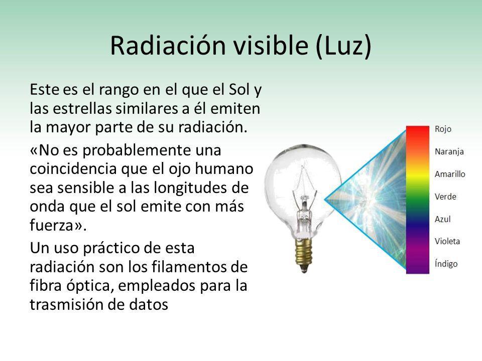Radiación visible (Luz) Este es el rango en el que el Sol y las estrellas similares a él emiten la mayor parte de su radiación. «No es probablemente u