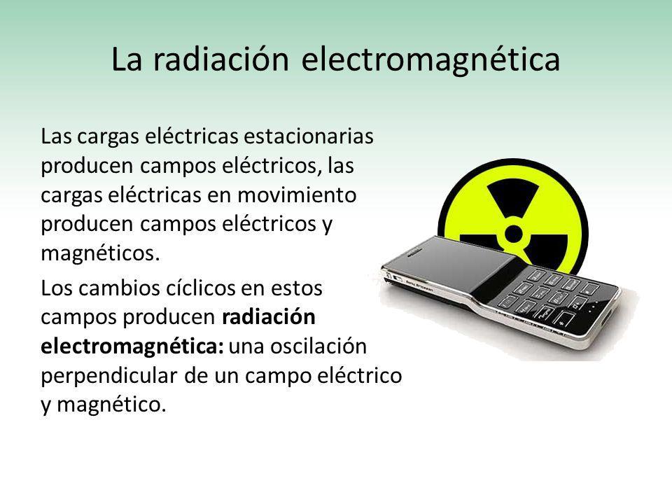 La radiación electromagnética Las cargas eléctricas estacionarias producen campos eléctricos, las cargas eléctricas en movimiento producen campos eléc
