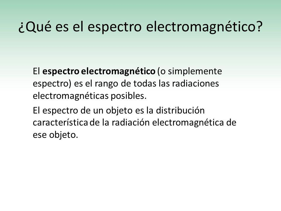 ¿Qué es el espectro electromagnético? El espectro electromagnético (o simplemente espectro) es el rango de todas las radiaciones electromagnéticas pos