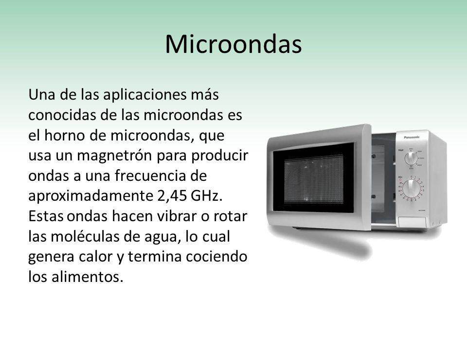 Microondas Una de las aplicaciones más conocidas de las microondas es el horno de microondas, que usa un magnetrón para producir ondas a una frecuenci