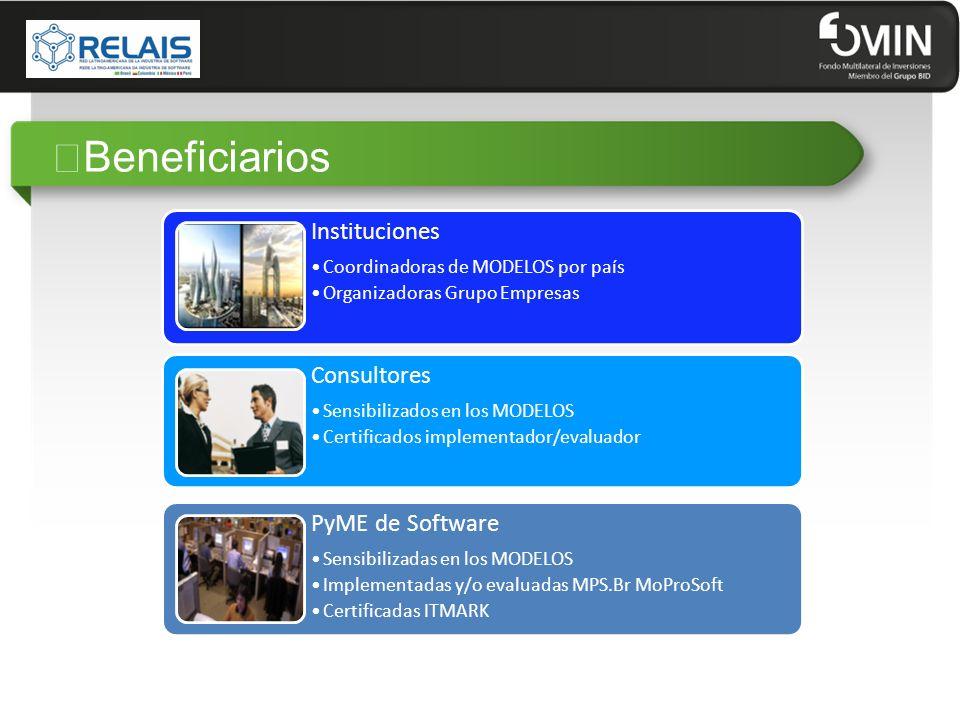 """""""Beneficiarios Instituciones Coordinadoras de MODELOS por país Organizadoras Grupo Empresas Consultores Sensibilizados en los MODELOS Certificados imp"""