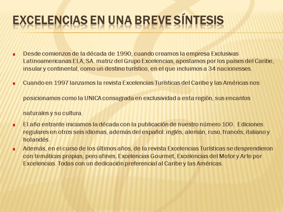 Desde comienzos de la década de 1990, cuando creamos la empresa Exclusivas Latinoamericanas ELA, SA. matriz del Grupo Excelencias, apostamos por los p