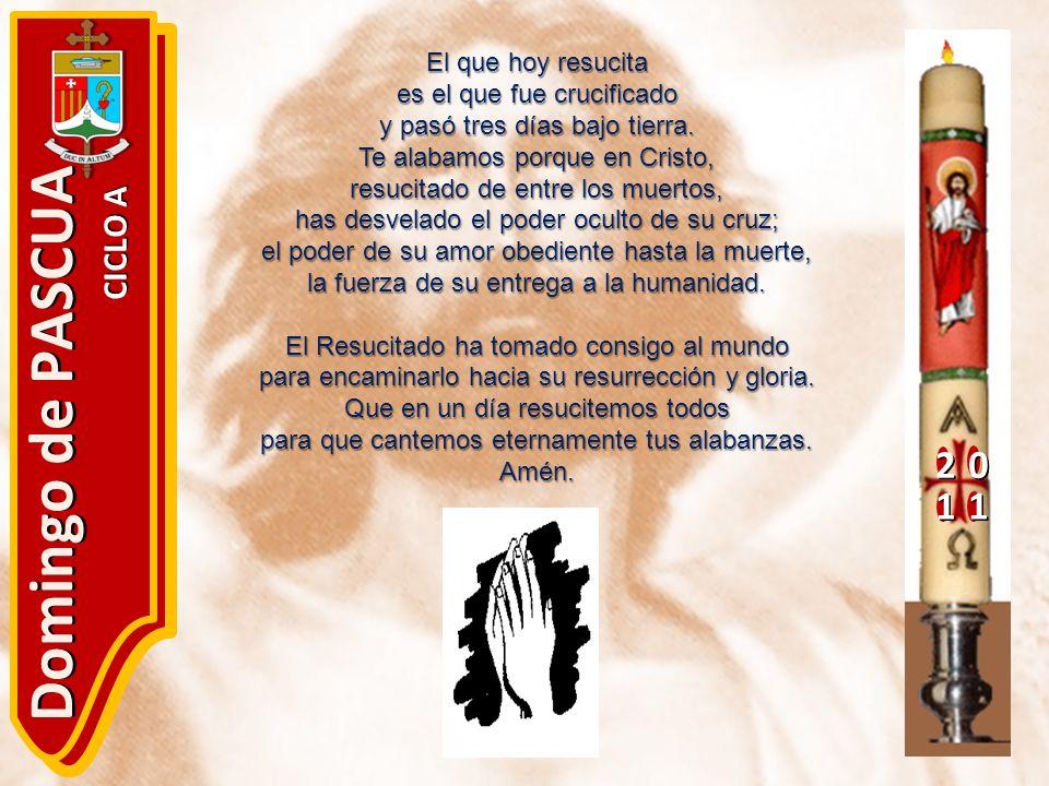 20 11 Domingo de PASCUA CICLO A El que hoy resucita es el que fue crucificado y pasó tres días bajo tierra. Te alabamos porque en Cristo, resucitado d