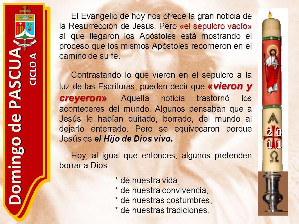 20 11 Domingo de PASCUA CICLO A «el sepulcro vacío» El Evangelio de hoy nos ofrece la gran noticia de la Resurrección de Jesús. Pero «el sepulcro vací