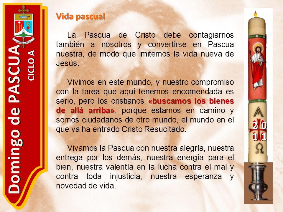 20 11 Domingo de PASCUA CICLO A Vida pascual La Pascua de Cristo debe contagiarnos también a nosotros y convertirse en Pascua nuestra, de modo que imi