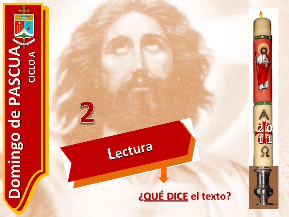20 11 Domingo de PASCUA CICLO A ¿QUÉ DICE ¿QUÉ DICE el texto? L ectura