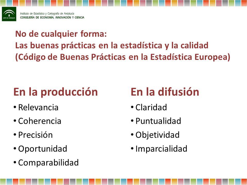 No de cualquier forma: Las buenas prácticas en la estadística y la calidad (Código de Buenas Prácticas en la Estadística Europea) En la producción Rel